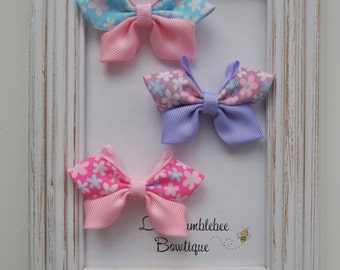 Blossom Ribbon Butterflies for Girls, Toddlers and Babies, Grosgrain Butterfly Bows-pair