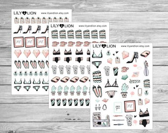 FASHION drawing Planner stickers - Bra - knickers - heels - coffee - tea - plum paper - erin condren - happy planner - kikki k