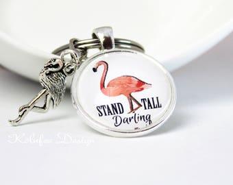 Key Chain Flamingo, keychain, keyring, flamingo bag pendant, gift for woman, present, flamingos, pendant