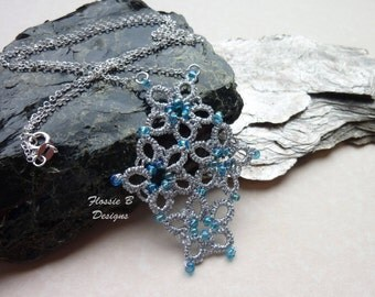 Flower necklace, silver and blue necklace, tatted pendant, festival fashion, boho necklace, birthday gift, gift for her
