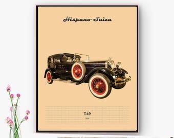 Poster, poster, laminating car Hispano Suiza T-49. Decoration Salon, Office, space. Digital art. DescargableNavidad Online poster.
