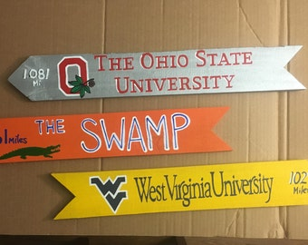 College signs, College Football Signs, Destination signs, Custom Directional sign, Personalized sign, tiki bar sign