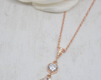 Necklace rose gold drop cubic zirconia wedding Bridal jewelry