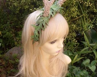 Deer antler headdress