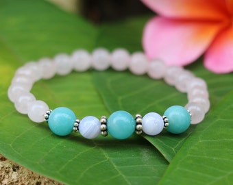 No. 32 Rose Quartz, Amazonite, Blue Lace Agate and Sterling Silver Beaded Bracelet