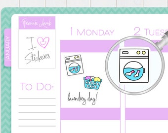 Laundry Stickers, Planner Stickers, Washing Machine Stickers, Laundry Basket Sticker, Chore Stickers, Kawaii Stickers, Cleaning Stickers