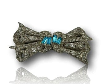 Vintage Rhinestone and Blue Crystal Duette Bridal Bow Brooch, Converts to Dress Clips c 1930s-40s