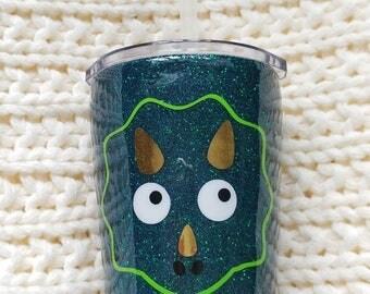 Kid's Dinosaur Glitter Tumbler//Stainless Steel Tumbler//8oz Tumbler//Glitter Dipped//Personalized Custom Animal Tumbler//Toddler Straw Cup