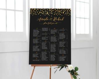 Gold Confetti Wedding Seating Chart, Wedding Seating Chart, Wedding Seating Chart Alphabetical, Wedding Seating Chart Template, RUSH SERVICE