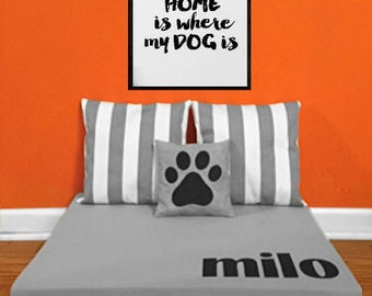 Custom Monogrammed Dog Bed - Elevated Raised Dog Beds - Modern Personalized Monogrammed Name Dog Beds by Ruff Trading Company