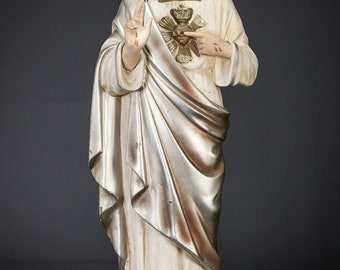 "Christ Statue | Sacred Heart of Jesus Figure | Antique Polychromed Plaster Figurine | Religious Gypsum | Chalk Sculpture | 17"" Large"