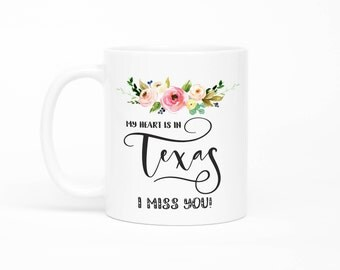 Texas Mug, Long Distance Friendship Mug, Long Distance Relationship Gift,I Miss You Mug, Moving Away Mug, Missing You, From Boyfriend