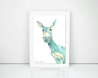 Watercolor Donkey Digital Download