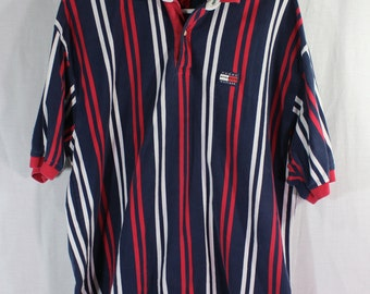 Vintage Tommy Hilfiger Athletics Classic Striped Polo Collared Shirt Mens Red Blue XL
