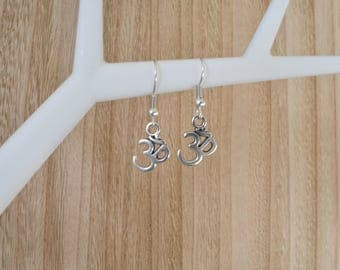 Ohm Earrings | Boho | Yoga | Buddhist | DQ Metal | Nickel Free | Silver Coloured