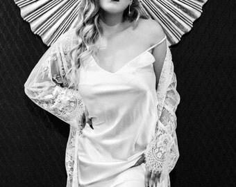 Short Satin Bridal Slip | Satin Bridal Slip | Bridal Full Lace Robe Slip| Wedding Slip Nightdress