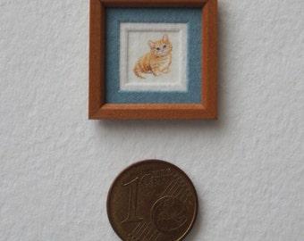 SOLD. Kitten, micro watercolor, 8x7 mm.