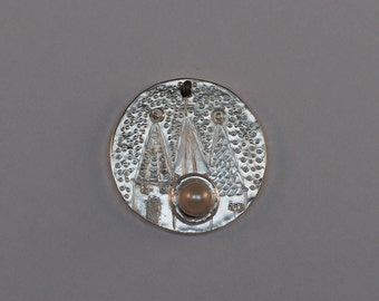 Medieval Towers - Talisman Relic - Handforged - Sterling Silver Pendant with Fresh Water Pearl