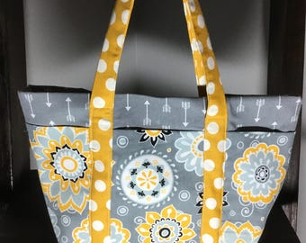Small Tote Bag with Pockets - Gray, Mustard Yellow pattern and arrows