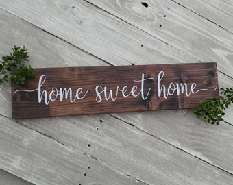 Home sweet home sign, wood sign, rustic wood sign, wood wall decor, wood wall art, home decor, farmhouse style sign, housewarming gift