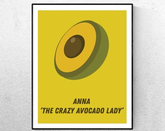 Personalised Print Avocado Lady Digital Download Housewarming Gift House Print Your Own Home Vegan Print Custom Birthday Gift Wall Art