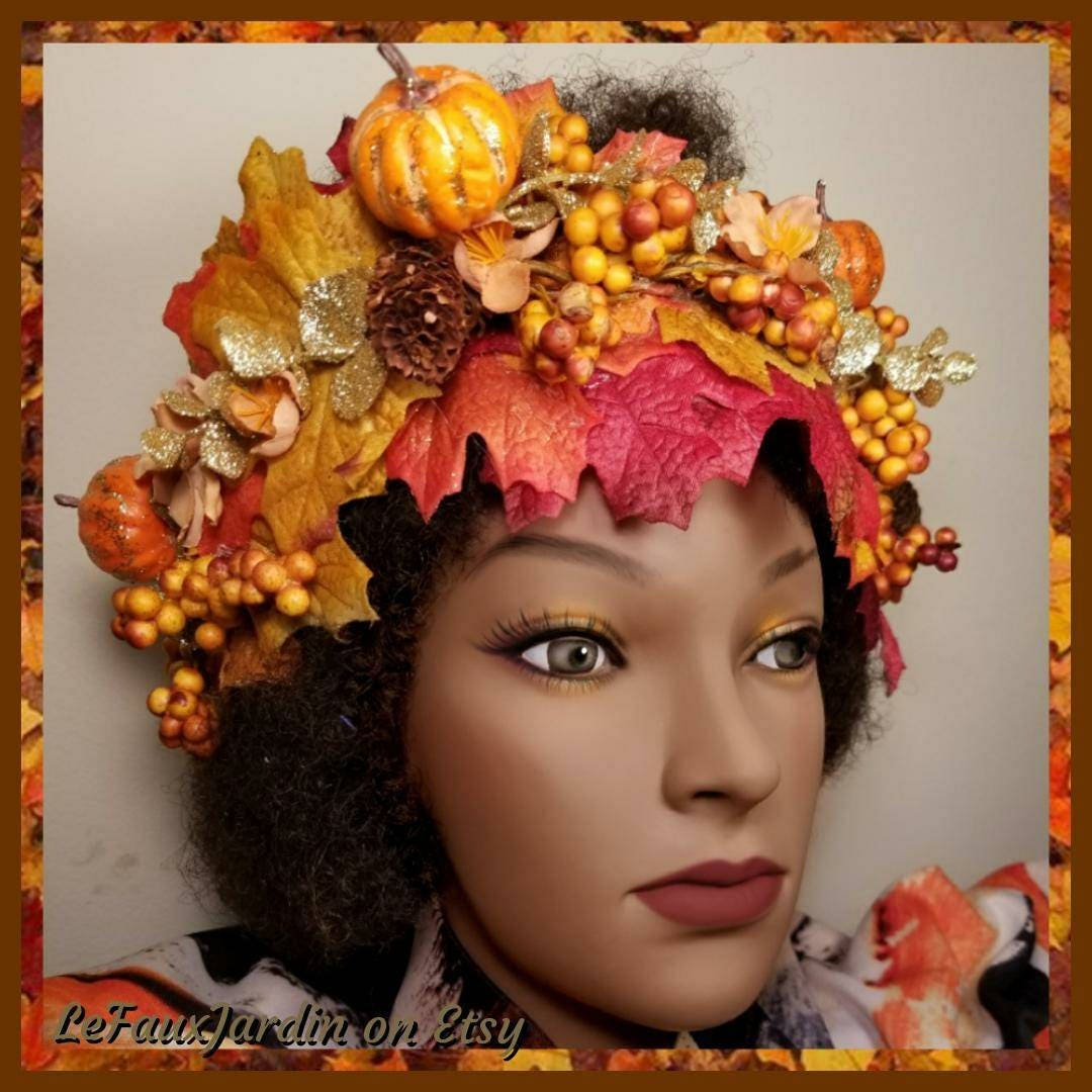 Gold Pumpkin Fall Flower Crown Autumn Leaves Halloween Boho Harvest