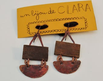Earrings wood and copper