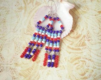 Chandelier boho native hippie cascade Earring boho red blue white long dangle beaded tassel tribal Gypsy style woman gift for girl ideas