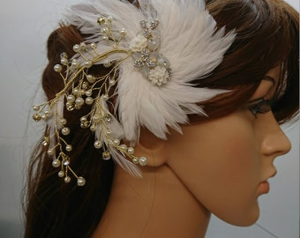 Gold Bridal White Feather with Flowers, Rhinestones and Faux Pearls Wedding Hair Clip