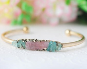 Summer Party Summer Outdoors Unique Gift for Women Raw Turmaline Bracelet Pink Bracelet Apatite Bangle Tourmaline Jewelry Birthstone Gift