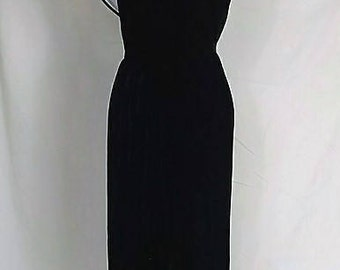 Vintage black velvet dress with low back Lanz Originals Extra Small xs (Vintage size 4) Sailor inspired, formal gown Made in the USA
