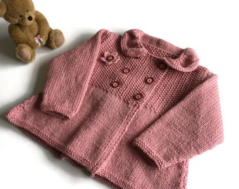 Handknitted Baby Coat, 6 - 9 months, hand knitted vintage style, double breasted baby coat, baby girl's coat