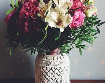 Macrame Vase, Macrame Candle Holder, Macrame Holder, Candle Holder, Candle Holders Wedding, Flower Vase Decor, Hurricane Candle Holder, Vase