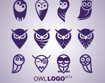 Instant Download Owl Logo Set 2