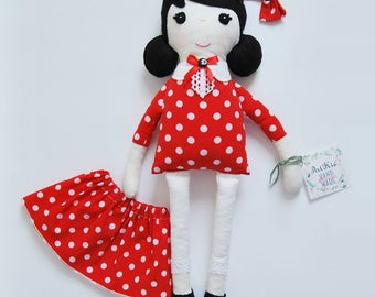 SALE 30% Handmade Doll-Gift For Children-Rag Doll-Cloth Doll-Soft Toy-Red Dress Doll-Play Doll-Textile Doll-Gift For Girl