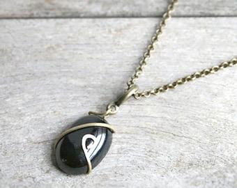 Necklace black Agate stone on thin bronze chain - minimalist necklace - gift jewelry - gemstone necklace - jewelry Joaty