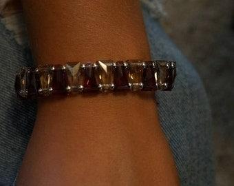 Amethyst & Smokey Quartz Swarovski Triangular Crystal Bracelet