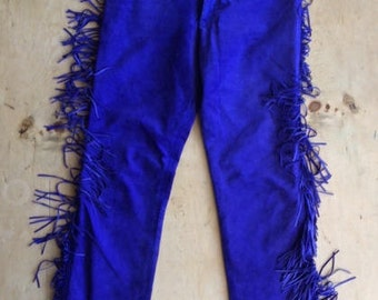 blue suede tasseled high waisted trousers