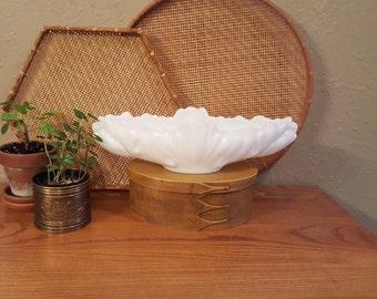 "Large 16"" vintage milk glass bowl.  Scalloped edge large oblong milk glass bowl,milk glass planter.  Unique white milk glass bowl"