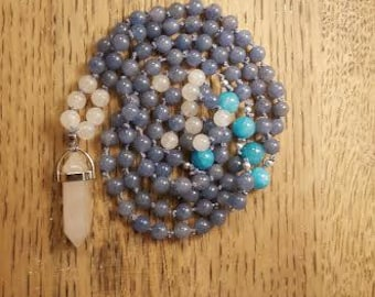 Blue Adventurine, Jade, Rose Quartz, Guru Bead, 108 Bead Mala Necklace, Yoga Mala, Prayer Beads, Meditation Beads, Mala