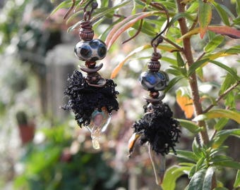 """artisan glass earrings, copper and lace: """"delicate"""""""