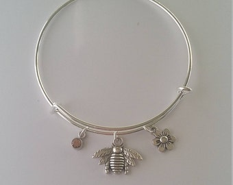 Bee charm bangle
