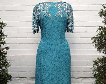 Vintage 1970s/1980s Sequin Dress in Blue