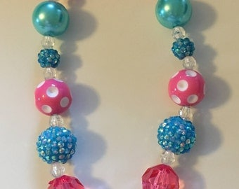 Trolls Bottle Cap, Chunky Necklace, Bottle Cap, Bubblegum Necklace, Pink and Teal Gumball,