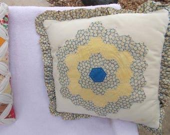 Vintage 1980s Handstitched Grandma's Flower Garden Pillow / from Rhode Island