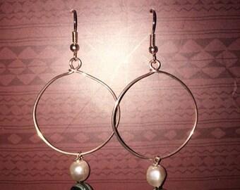 Hoop Earrings, Rose Gold, Abalone Shells, Pearl Beads.