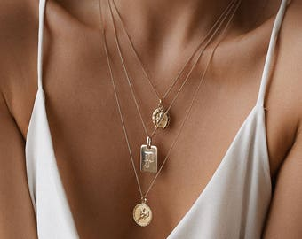 Personalized Necklace - Initial Necklace - Medallion Necklace - Personalized Necklace Gold - Layering Necklace - Gold Necklace