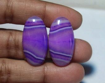 Natural Purple Banded Agate  Earring Pair (26X12)mm#2122