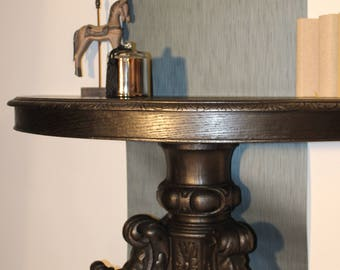 Black patina half moon console
