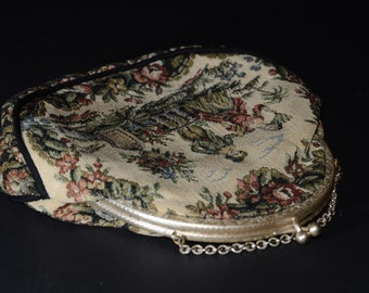 Vintage handbag, French tapestry, La Marquise, circa 1950, Silver Tone, Clasp and Chain Strap, Embroidered Tapestry Purse, outdoor scene